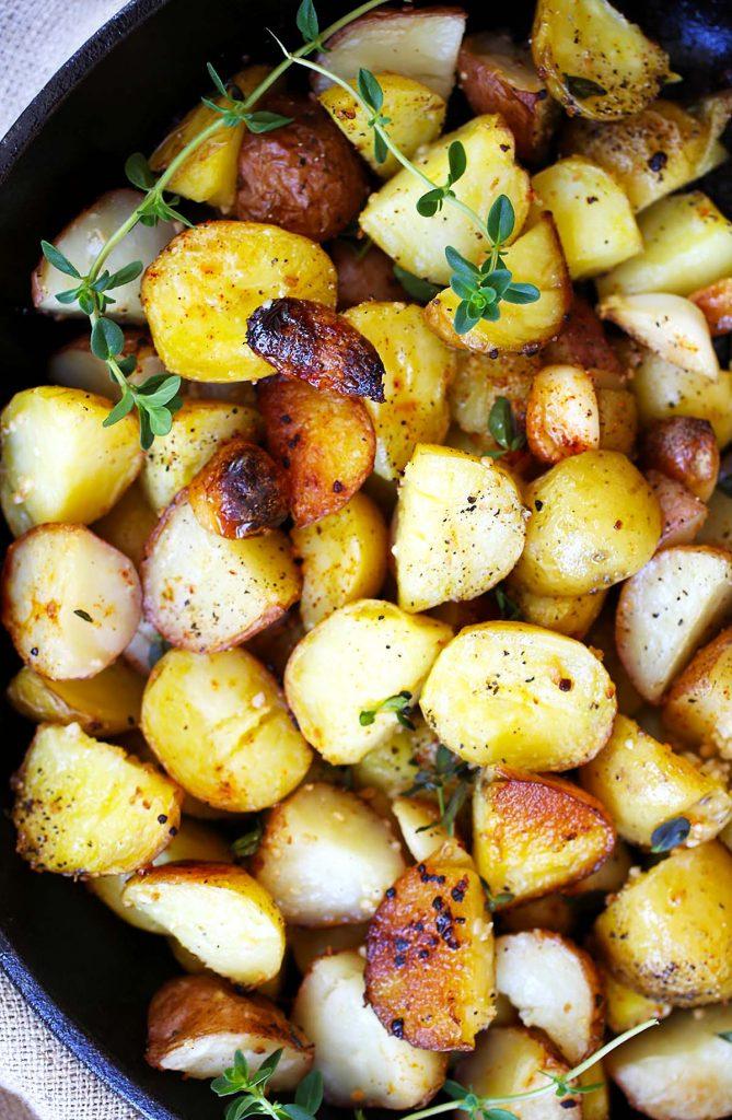 Potatoes in skillet.