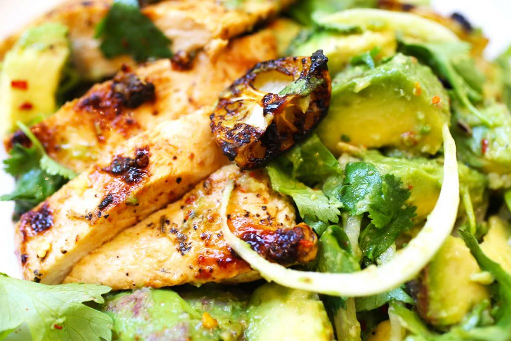 Grilled chicken with avocados