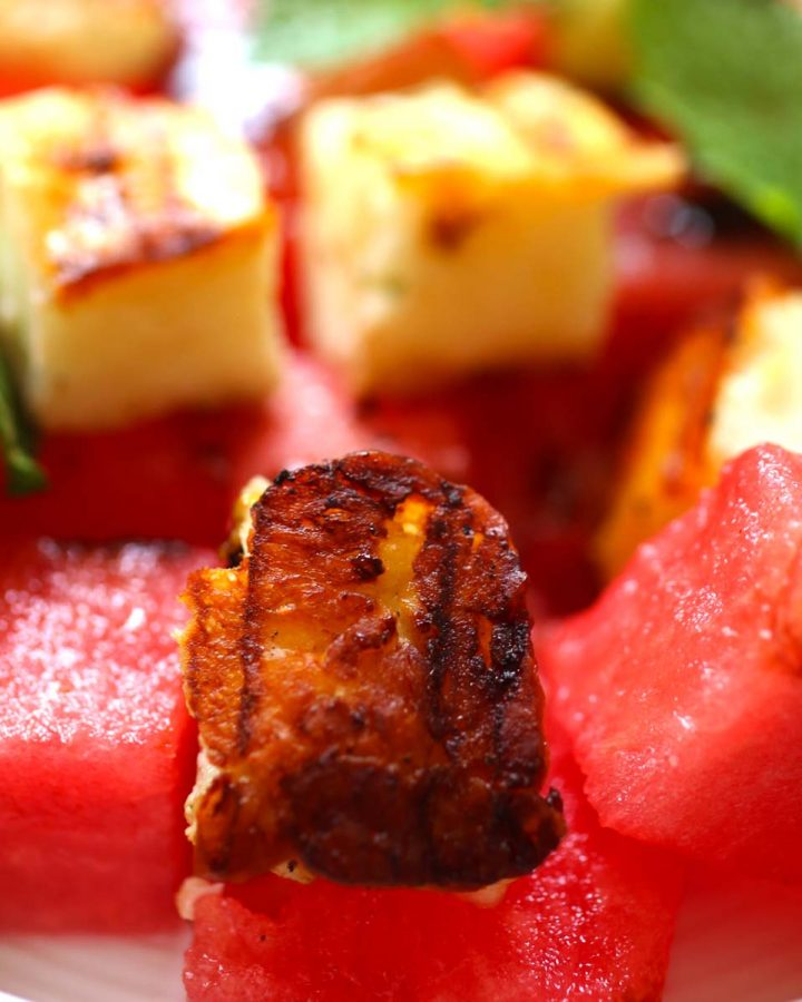 Halloumi and watermelon