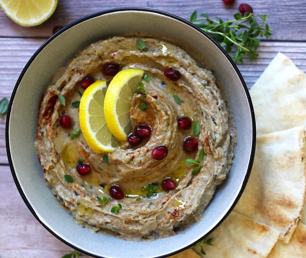 baba ganoush with pita bread.