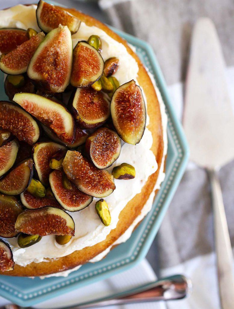Fig pistachio and honey cake.