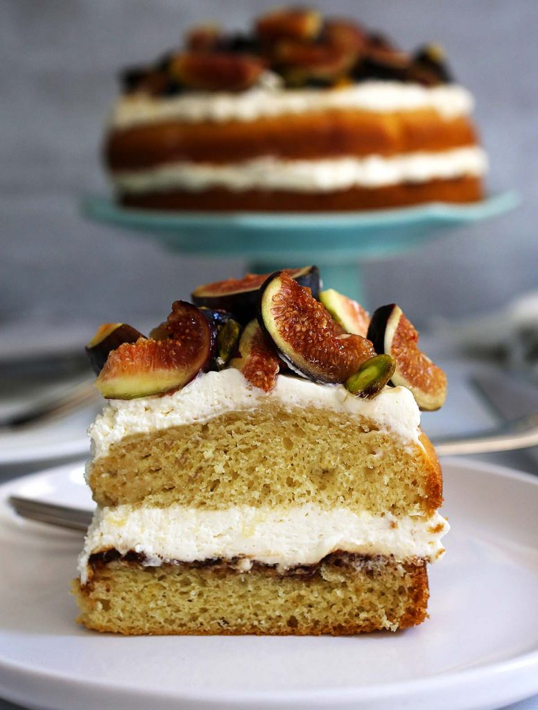 Fig pistachio and honey cake slice.