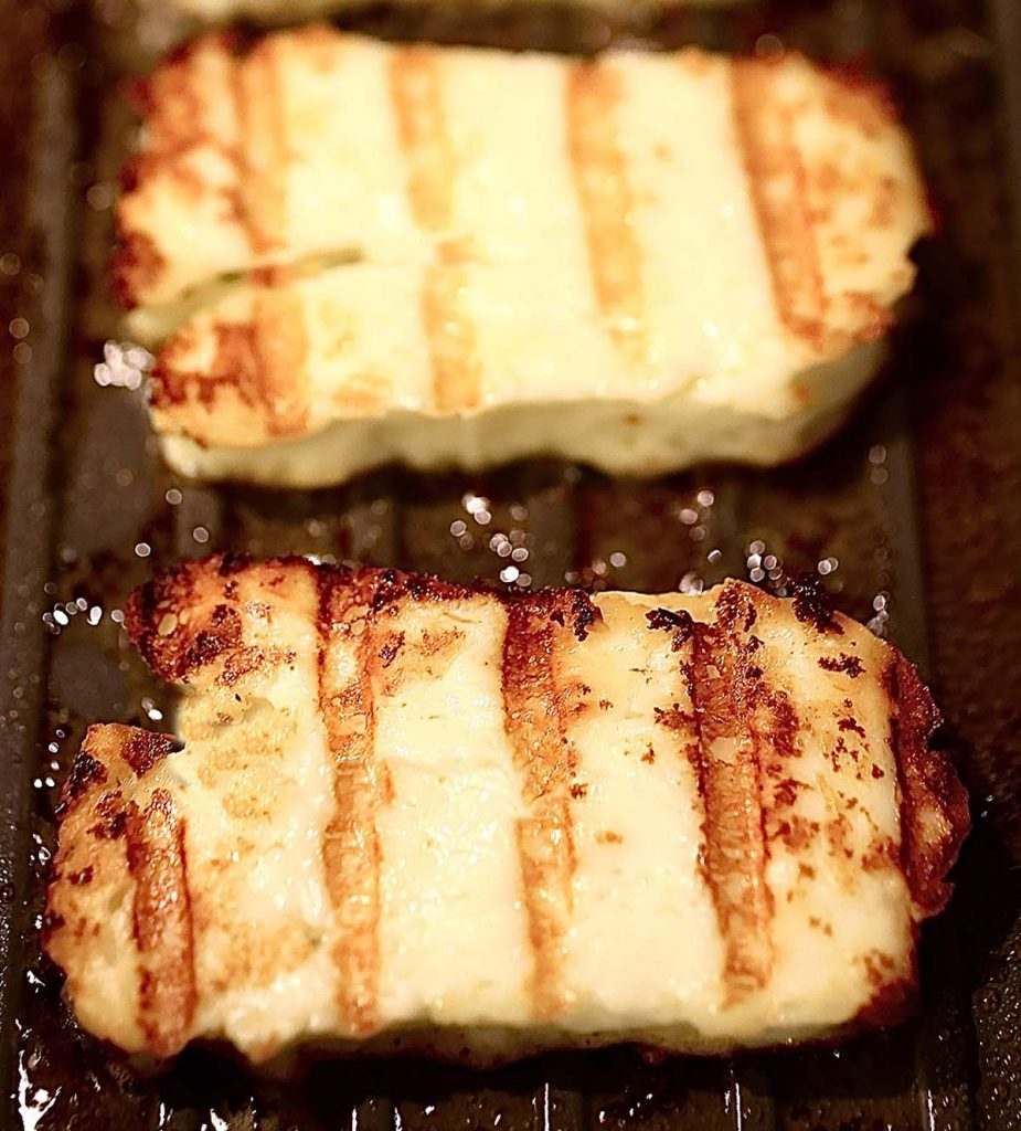 Halloumi cheese on grill