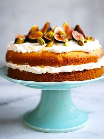 Fig pistachio honey cake