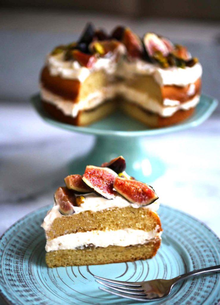 Fig pistachio and honey cake piece.