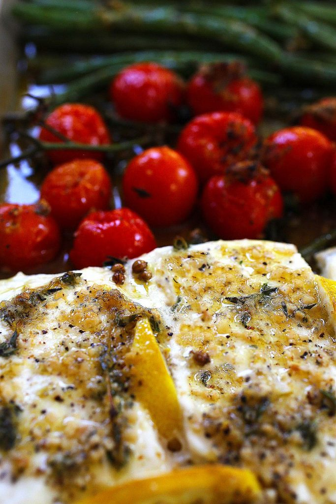 One-pan baked halibut with tomatoes and lemon