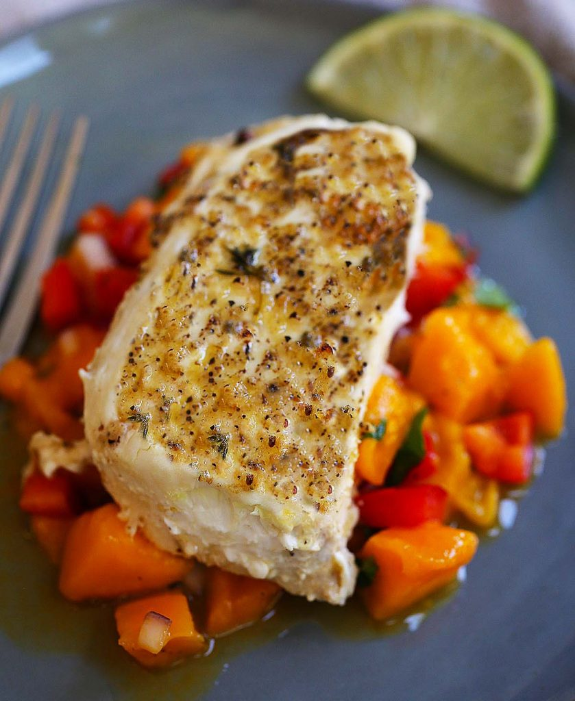 Grilled halibut fish with Mango salsa