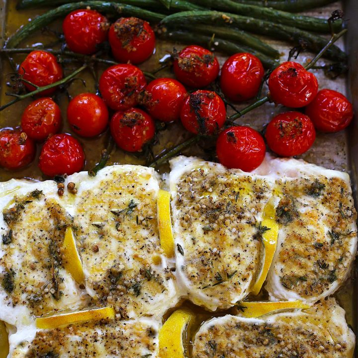 One-pan Baked Halibut with Vegetables