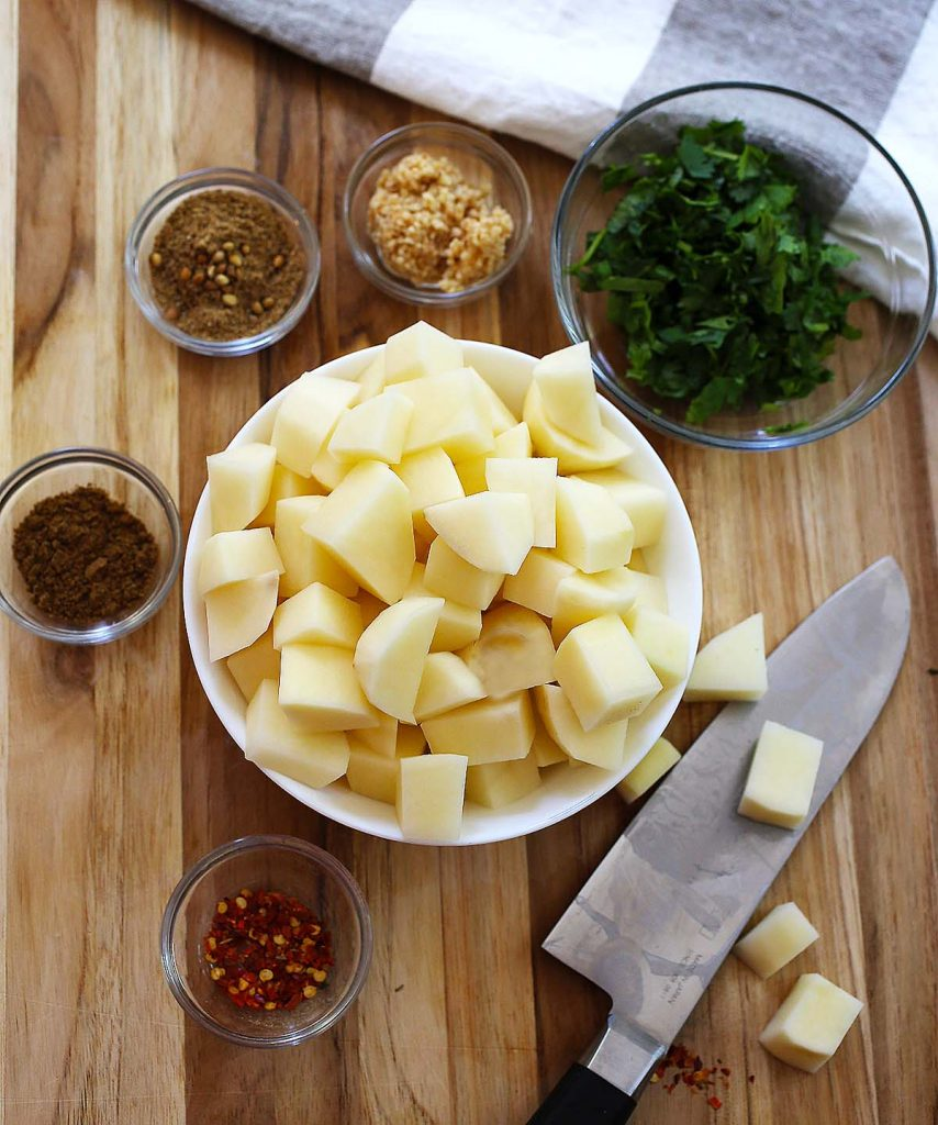 Spiced potatoes raw ingredients.