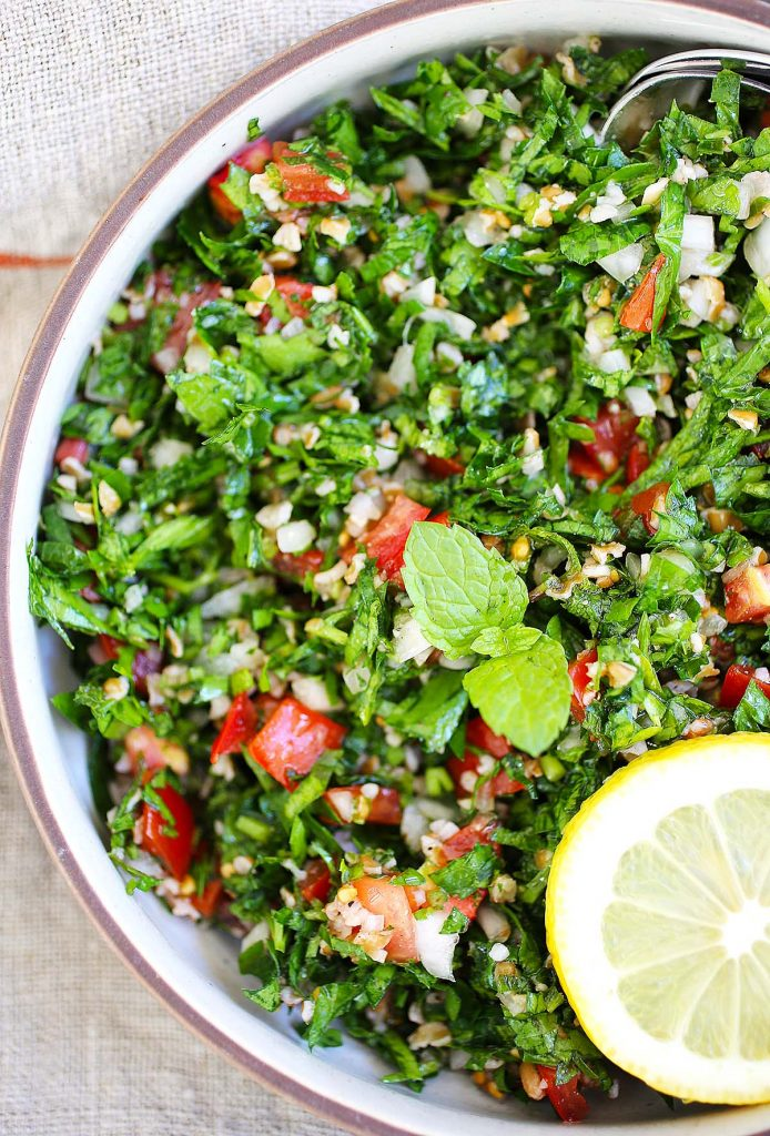 Tabbouleh salad close up.