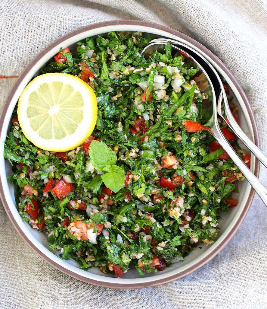 Lebanese tabbouleh in a plate.