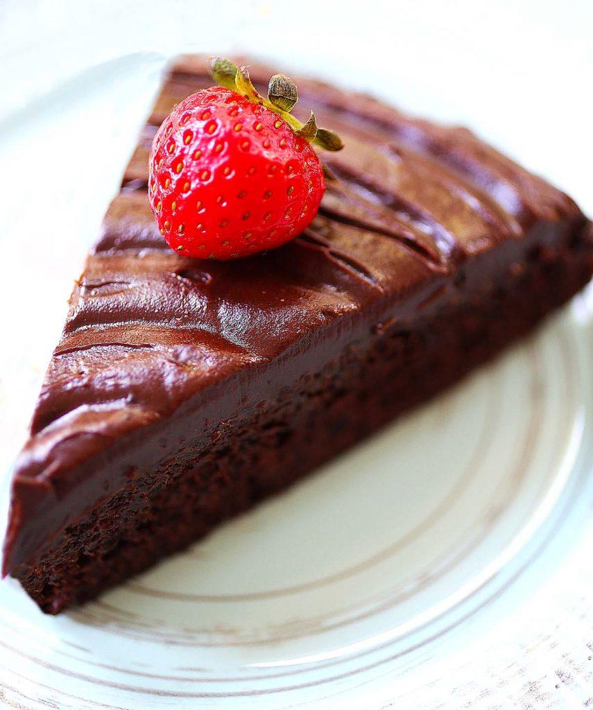 Chocolate cake with strawberry.