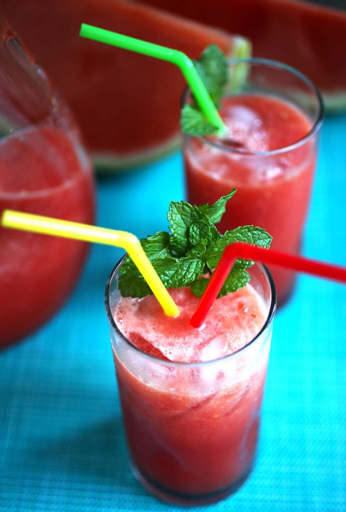 watermelon juice with mint.