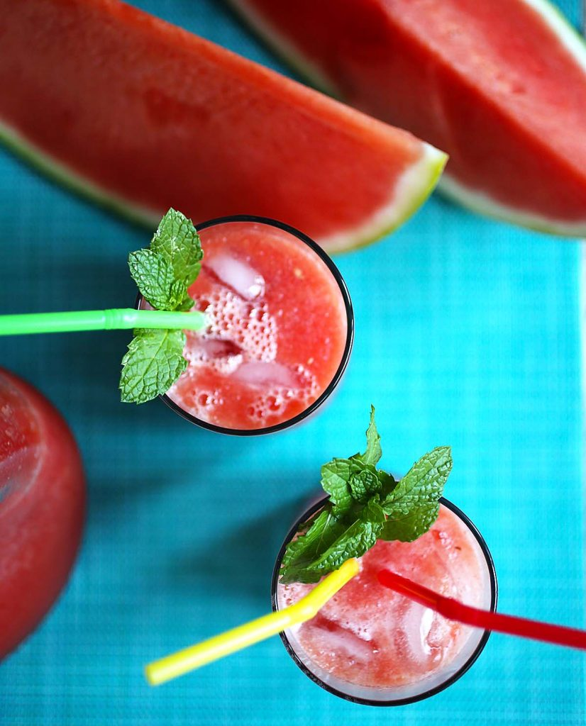 Watermelon slices and juice.