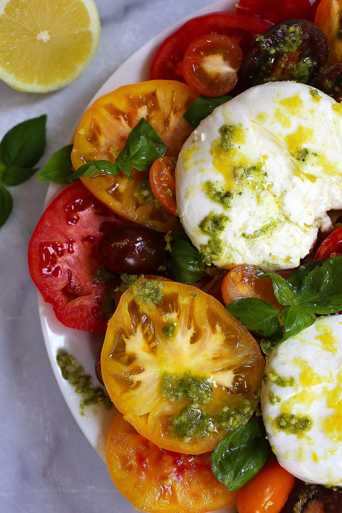 Tomato Burrata salad with Basil and lemon zest.