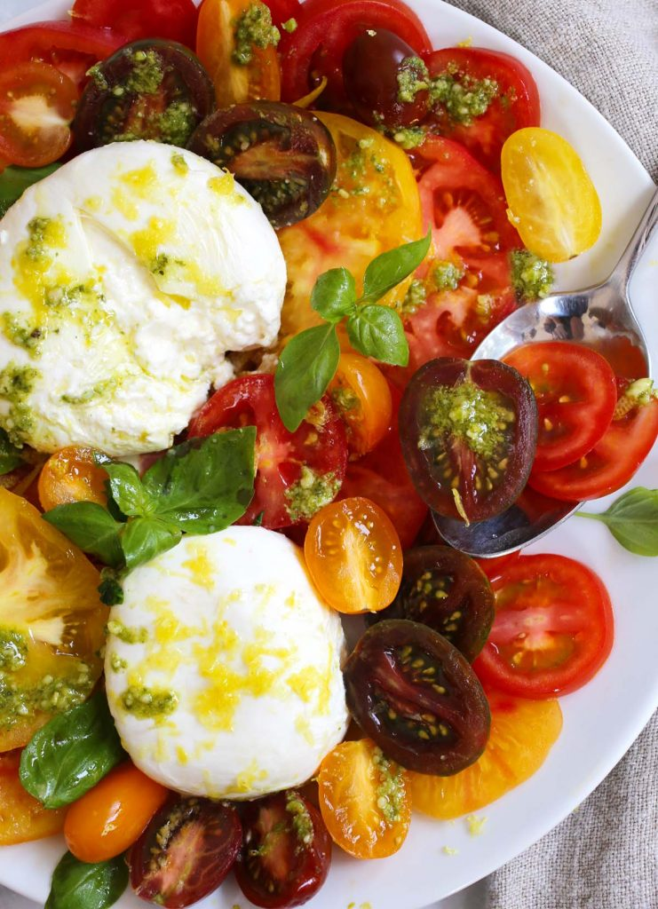 Tomato Burrata salad with Basil.