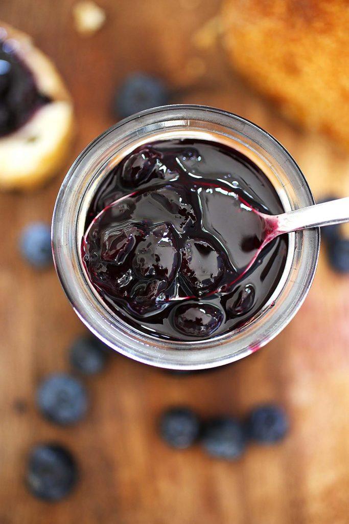 Blueberry sauce in jar.