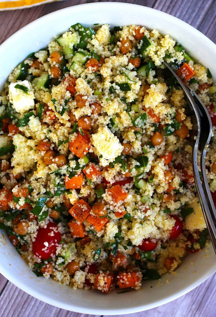 Couscous salad with sweet potatoes and cucumbers.