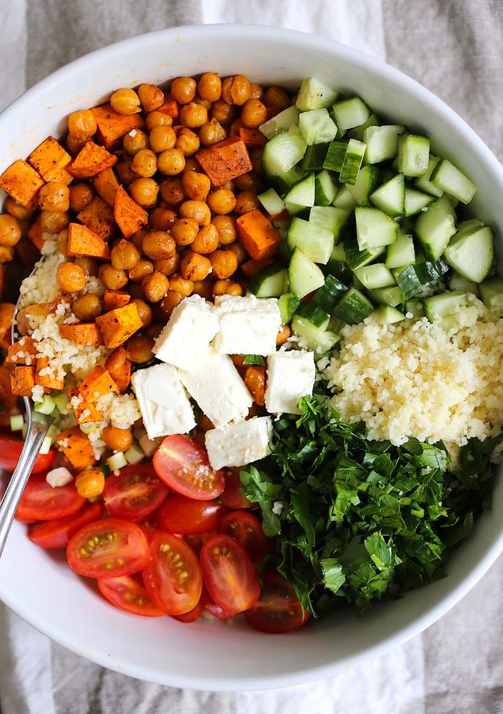 Couscous salad ingredients.