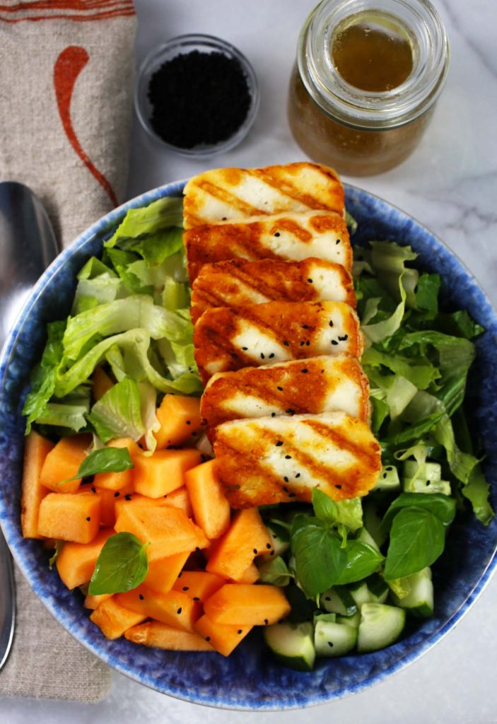 Grilled Halloumi with melon and poppy seed salad.
