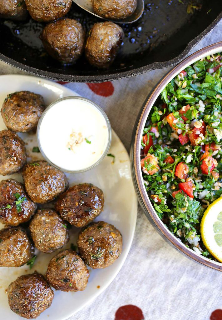 Meatballs with tahini sauce and tabbouleh salad