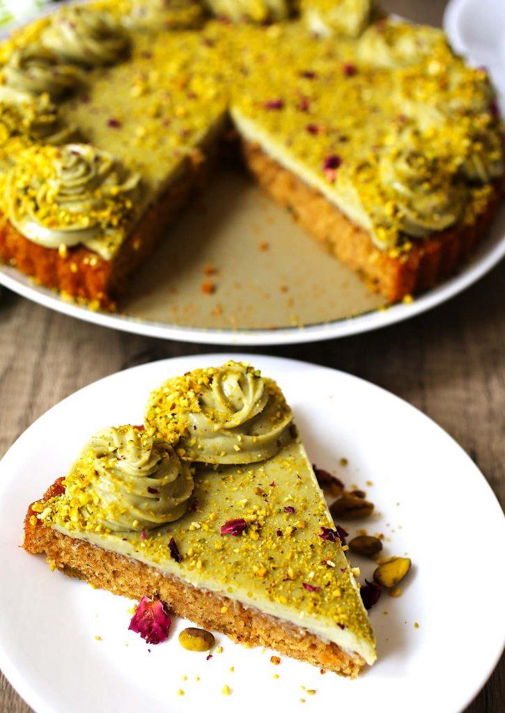 Pistachio cream cheese cake slice.