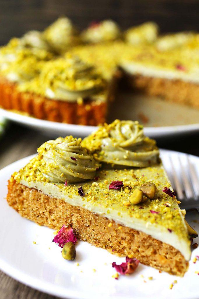 Slice of pistachio cake.