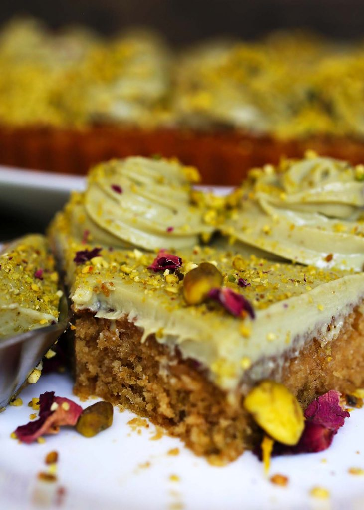 Pistachio cake on plate.