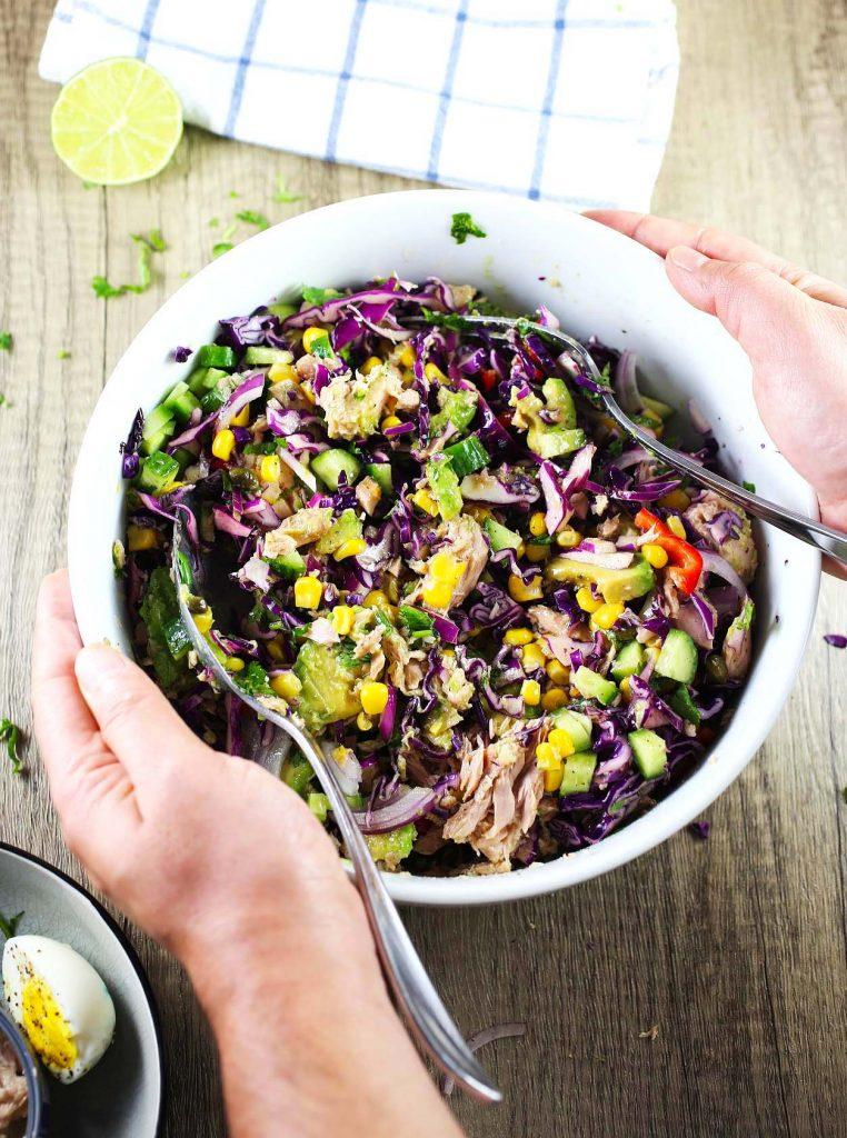Mediterranean tuna salad with vegetables, boiled egg and lemon dressing.