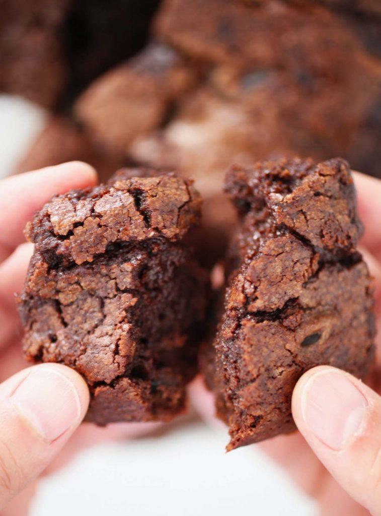 Brownie cut in half.