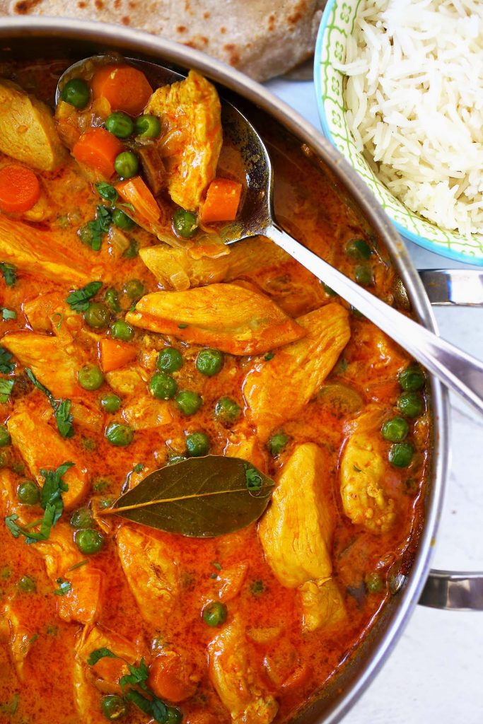 Chicken Vegetable Curry with white rice.