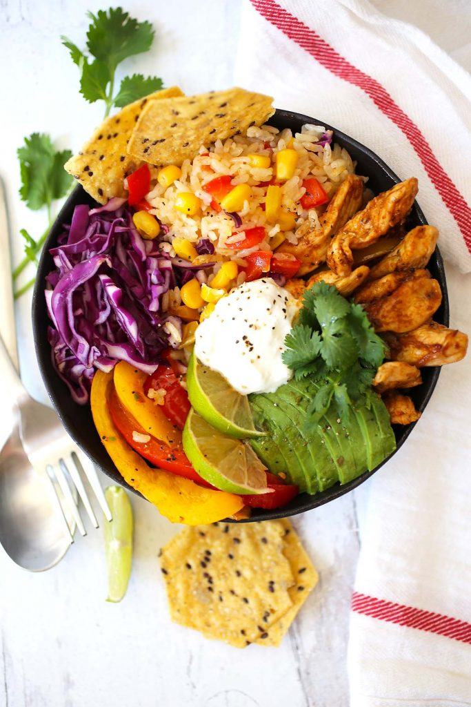 Chicken fajita rice bowl.