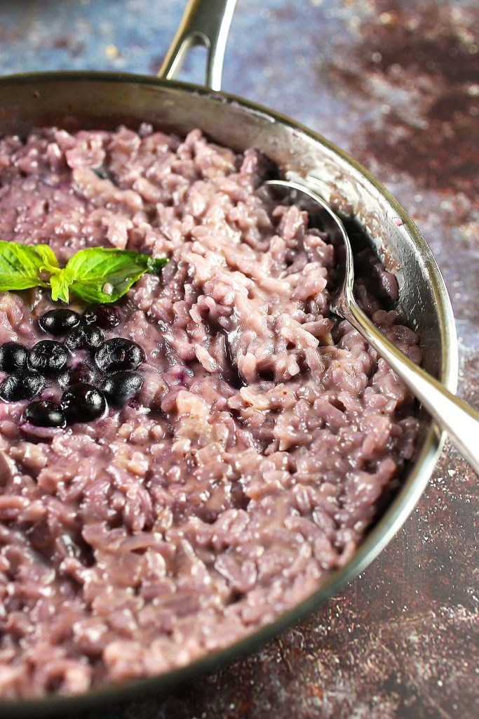 Blueberry Mascarpone Risotto in pan.