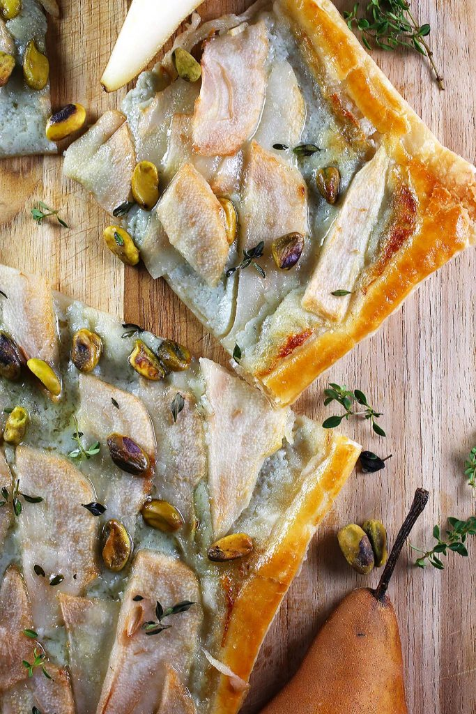 Cheese and pear tart slices.