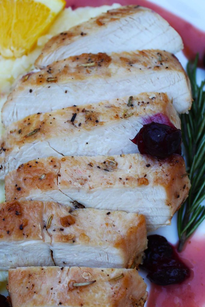 Chicken breast cuts on plate.