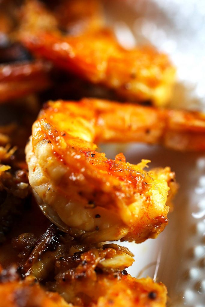 Spicy honey grilled shrimp on plate