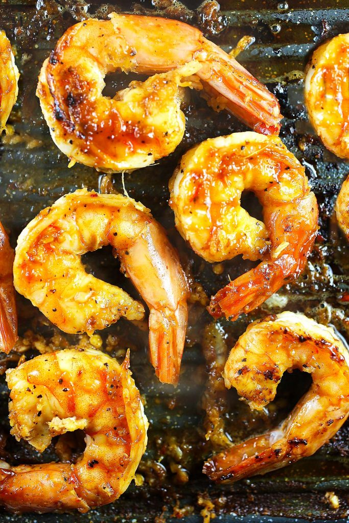 Shrimps on grill.