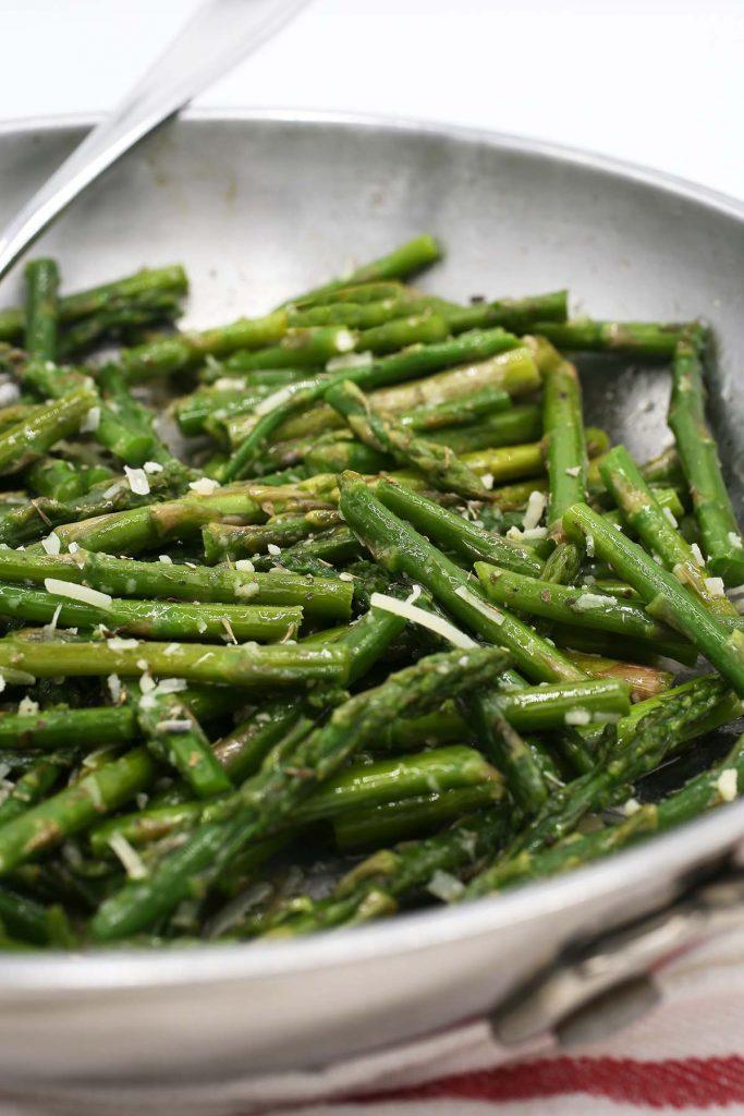 Asparagus in skillet.