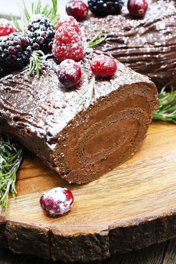 Chocolate Yule log.