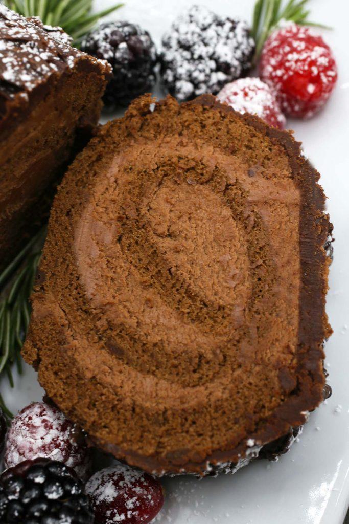 A slice of chocolate cake.