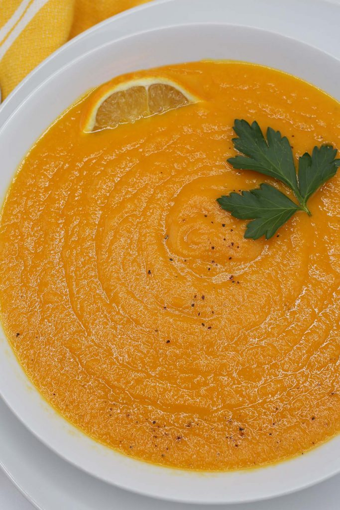 Carrot soup in a plate.