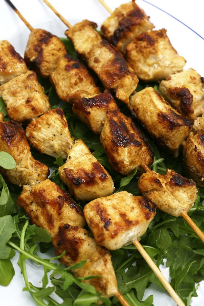 Grilled chicken on skewers.