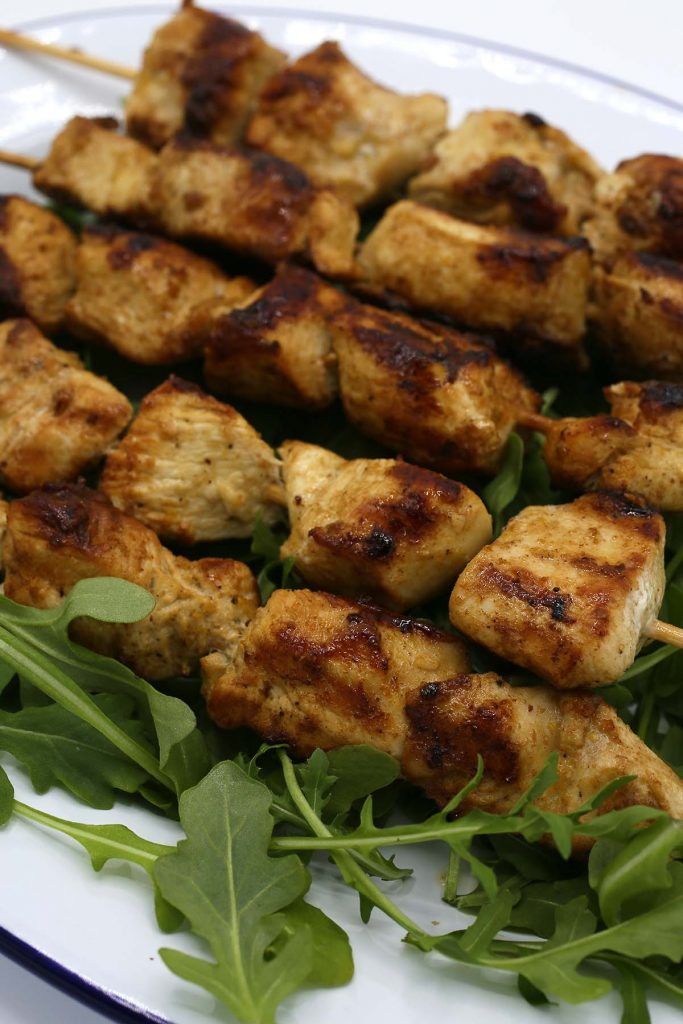 Chicken on skewers.