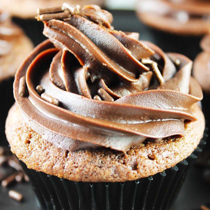 Chocolate chip fudge cupcakes