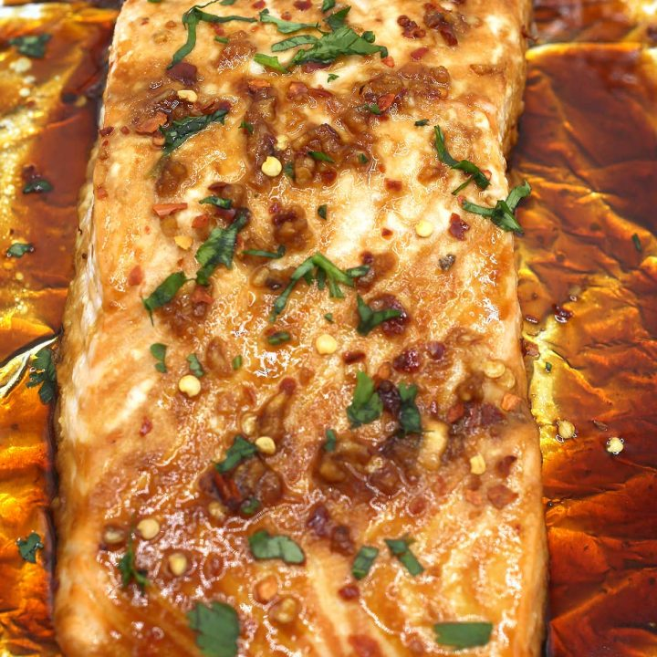Maple garlic baked salmon