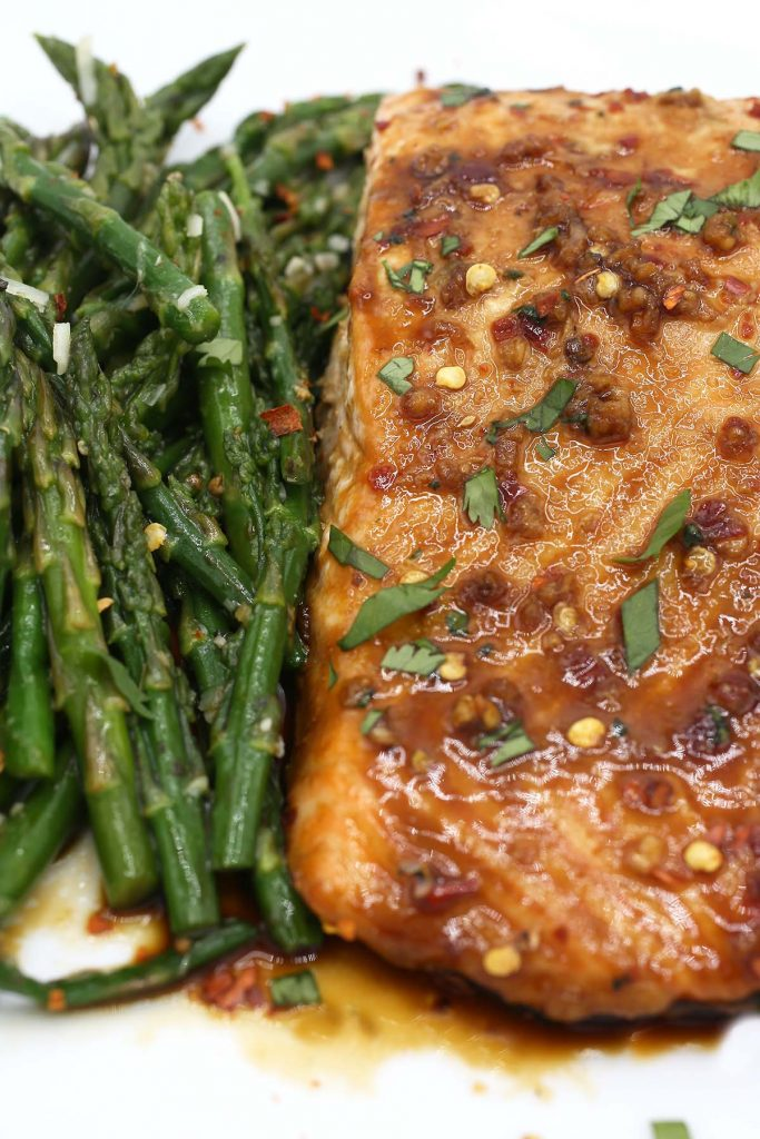 Baked asparagus and salmon.