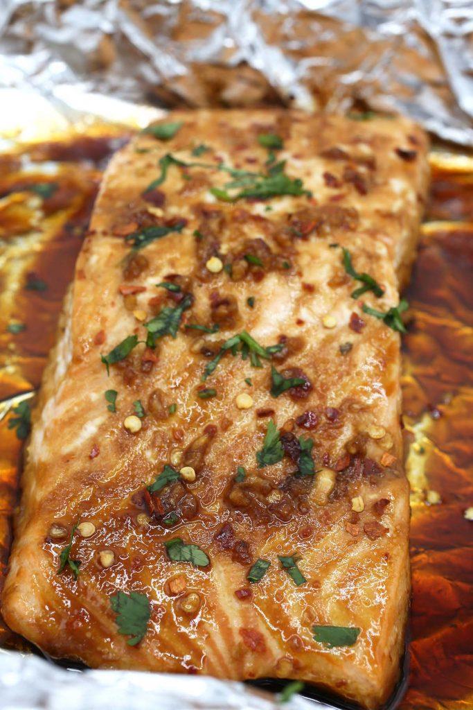 Foil baked salmon.
