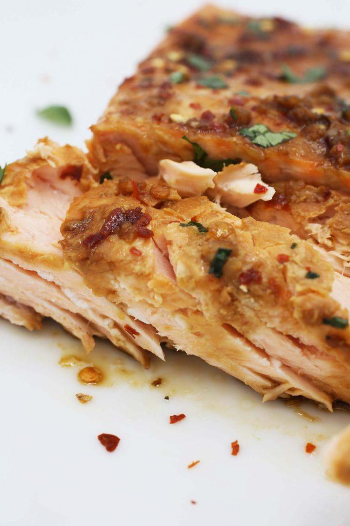 Maple garlic baked salmon.