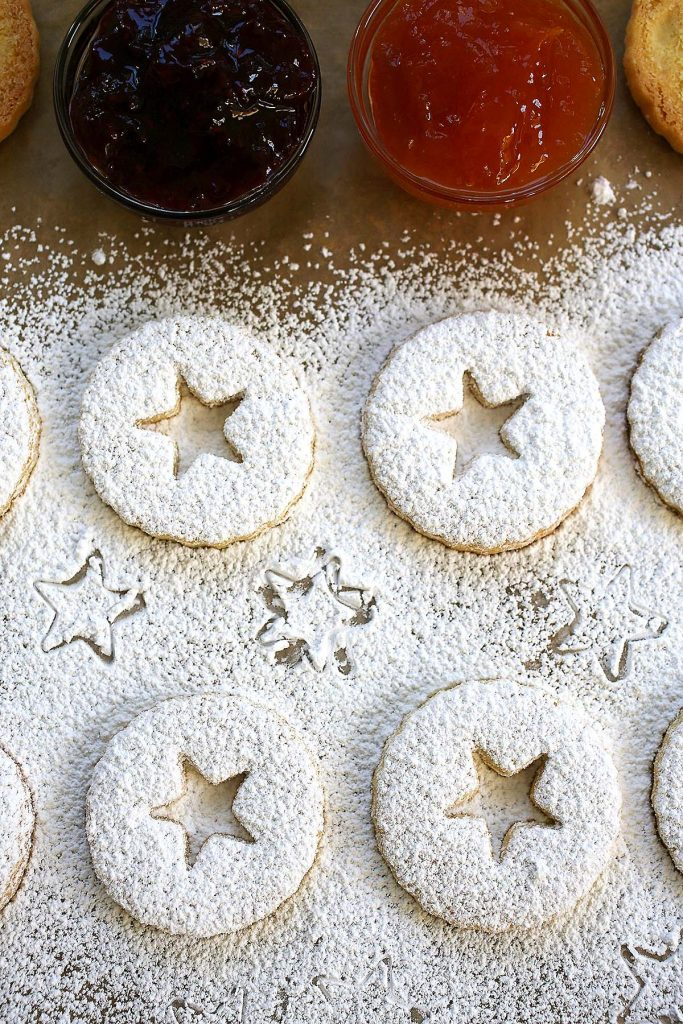 cookies dusted with powder sugar.