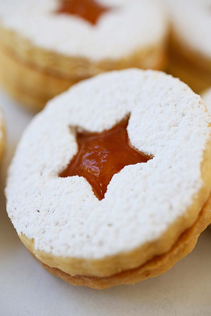 Apricot filled linzer cookie.